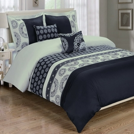 Chelsea Black 5-Piece Duvet Cover Set Embroidered 100% Cotton Full/ Queen Size