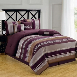 Claudia Purple 7-Piece Comforter Set Calking Size