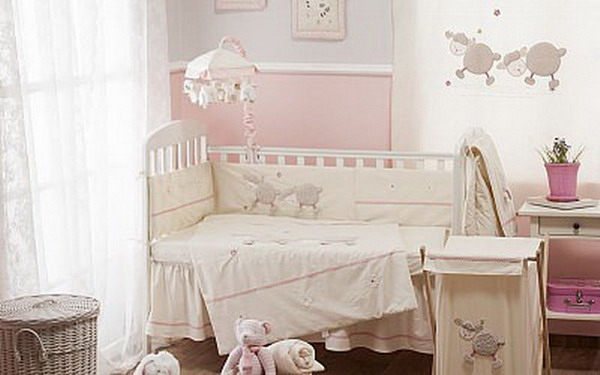 Cream Pink Sheep Crib Bedding