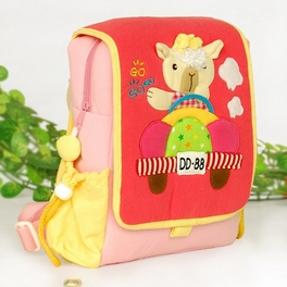 [Cute Dolly] Embroidered Applique Kids Fabric Art School Backpack / Outdoor Backpack (7.1*8.7*2.6)