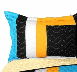 [Drive Till Dawn] 3PC Vermicelli - Quilted Patchwork Quilt Set (Full/Queen Size)