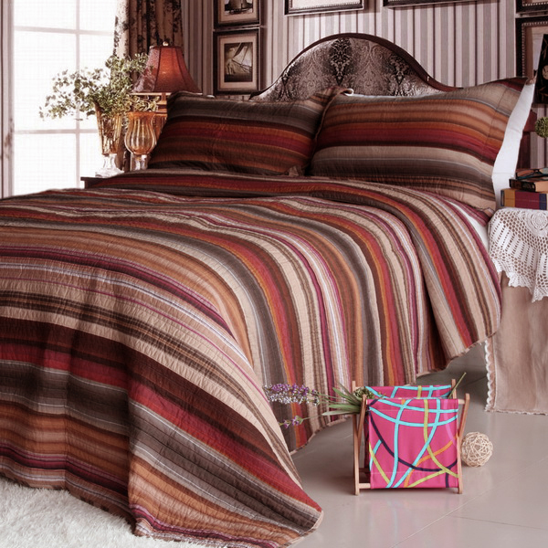 Marvelous [Enthusiasm Desert 1] Cotton 3PC Vermicelli Quilted Striped Printed Quilt  Set (Full/Queen Size)