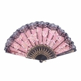 Foldable Raw Silk Printing Folding Fan FS008-ROSE-GOLD-GLITTER-BURGANDY-2PC