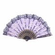 Foldable Raw Silk Printing Folding Fan FS008-ROSE-GOLD-GLITTER-PURPLE-2PC