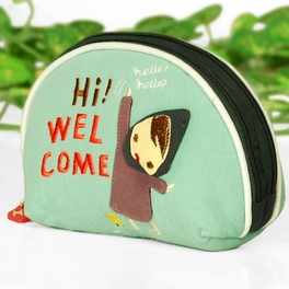 [Funny Girl] Embroidered Applique Fabric Art Wrist Wallet / Coin Purse / Wrist Pack (5.9*3.9)