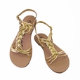Gold Faux Leather-weaved Women Sandal