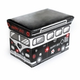 [Happy Bus - Black] Rectangle Foldable Faux Leather Storage Ottoman / Storage Boxes / Storage Seat