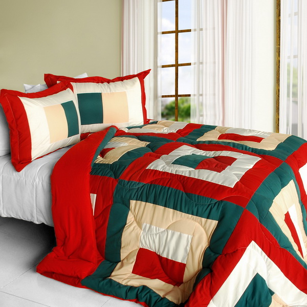In my life a quilted patchwork down alternative comforter set full queen size for Home design alternative comforter