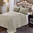 Luxury Ivory Checkered Quilted Wrinkle Free Microfiber 3 Piece Coverlets Set King/Calking