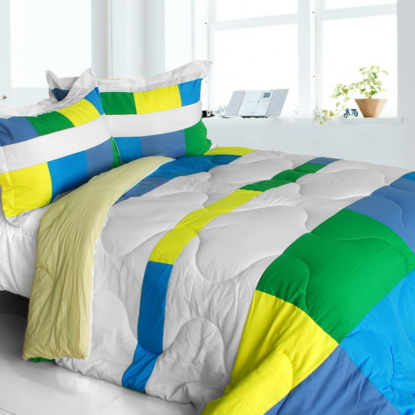 Laura dreamland quilted patchwork down alternative comforter set king size for Home design down alternative color king comforter