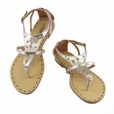 Light Gold Cutout Flats Sandals Womens Shoes