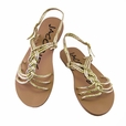 Light Gold Faux Leather-weaved Women Sandal