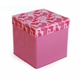 [Love Heart - Pink] Square Foldable Storage Ottoman / Storage Boxes / Storage Seat