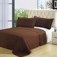 Luxury Chocolate Brown Checkered Quilted Wrinkle Free Microfiber 2 Piece Coverlets Set Twin/Twin XL