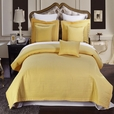 Luxury Gold Checkered Quilted Wrinkle Free Microfiber Multi-Piece Coverlets Set Twin/Twin XL 4PC