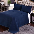 Luxury Navy Checkered Quilted Wrinkle Free Microfiber 2 Piece Coverlets Set Twin/Twin XL