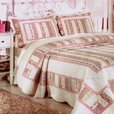 [Mangena] Cotton 3PC Floral Vermicelli-Quilted Printed Quilt Set (Full/Queen Size)