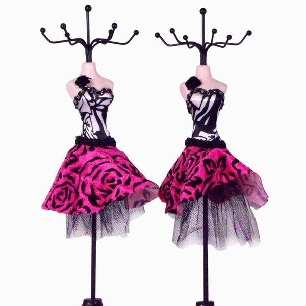 Mannequin In Mini Cocktail Dress Jewelry Holder Hot Pink