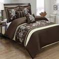 Myra Chocolate 5-Piece Duvet Cover Set Embroidered 100% Cotton Full/ Queen Size