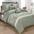 Myra Gray 5-Piece Duvet Cover Set Embroidered 100% Cotton Full/ Queen Size