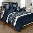 Myra Navy 5-Piece Duvet Cover Set Embroidered 100% Cotton King/ Calking Size