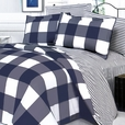 [Navy & White] 100% Cotton 4PC Comforter Set (Twin Size)