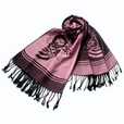 Pa-615-2 Pink Base Flower Patterns Elegant super Soft Woven Tassel Ends Pashmina/Shawl/Scarve