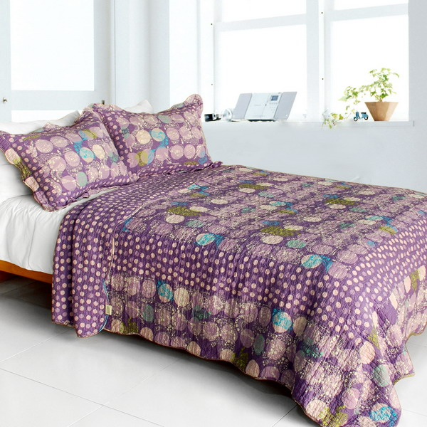 Parfait-Amour] Cotton 3PC Vermicelli-Quilted Polka Dot Printed ... : purple quilt sets - Adamdwight.com