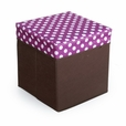 [Polka Dots] Square Foldable Storage Ottoman / Storage Boxes / Storage Seat