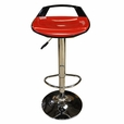 Red Chess Set of 2  Barstools Bar Chair Adjustable Swivel ABS Seat