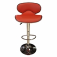 Red Kiss Set of 2  Barstools Bar Chair Adjustable Swivel PU Seat