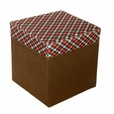 [Red/White/Black Check] Square Foldable Storage Ottoman / Storage Boxes / Storage Seat