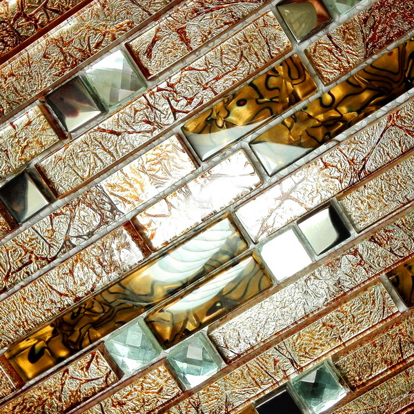 Retro Golden 3 Dimensional Mosaic Decorative Wall Tile 2pc