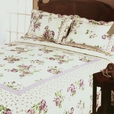 [Rowena] Cotton 3PC Floral Vermicelli-Quilted Printed Quilt Set (Full/Queen Size)