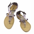 Silver Cutout Flats Sandals Womens Shoes