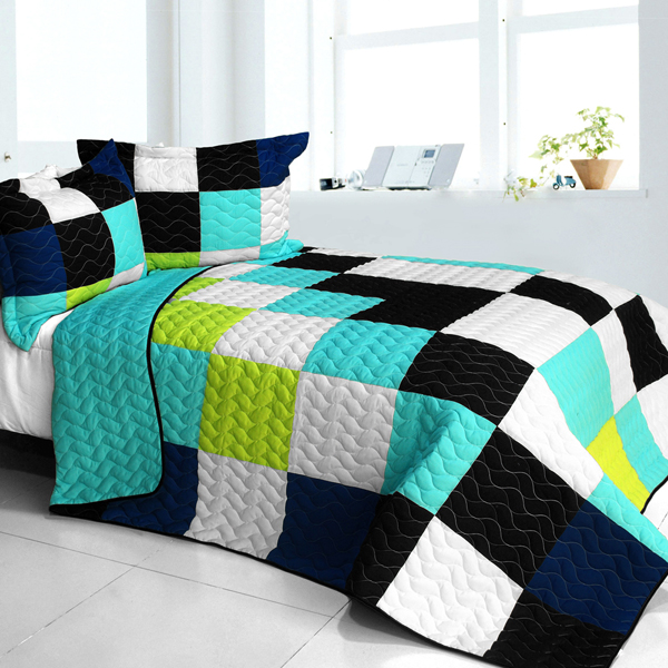 lantern 3pc vermicelli quilted patchwork quilt set full queen size