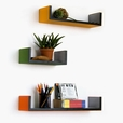 Trista - [Groovy Colours] U-Shaped Leather Wall Shelf / Bookshelf / Floating Shelf (Set of 3)