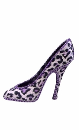 Veromca - B Leopard Print High-heel Shoes Ring Jewelry Display Holder Stand Rack - Purple