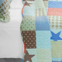 [Wave Point of Stars] 3PC Cotton Vermicelli-Quilted Printed Quilt Set (Full/Queen Size)