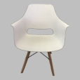White Calla lily Set of 2  Beech Wood Leg Barstools with arm Bar Chair PP Seat