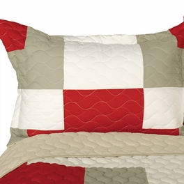 [Wild Heart] Vermicelli-Quilted Patchwork Geometric Quilt Set Full/Queen