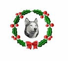 husky1wreath Siberian Husky (small or large design)