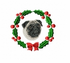 pug2wreath Pug   (small or large design)