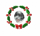 pwd1wreath Portuguese Water Dog (small or large design)