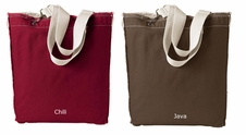 Raw Edge Tote Bag with large design)