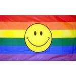 3' X 5' Rainbow Happy Face Flag