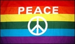 3' X 5' Rainbow Peace Sign Flag