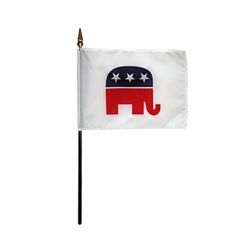 "4"" X 6"" Handheld Republican Flag"