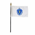 "8"" X 12"" Massachusetts Stick Flags"