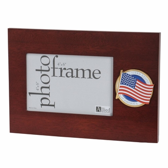 "American Flag Medallion Desktop 4"" X 6"" Picture Frame"